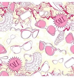 Seamless pattern with women sunglasses and fashion vector image