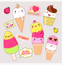 set of cute ice cream stickers in kawaii style vector image