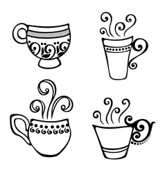 Set of Decorative Cups of Coffee vector