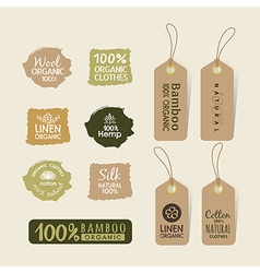 Set of eco friendly fabric tag labels design vector