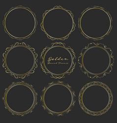 set of golden round frames for decoration vector image