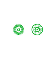 set recycling green star and circle badge with vector image