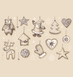 set vintage hand made christmas decorations vector image