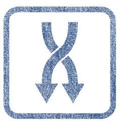 Shuffle arrows down fabric textured icon vector