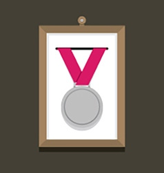 Silver Medal In A Picture Frame vector