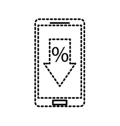 Smartphone and arrow discount percent offer sale vector
