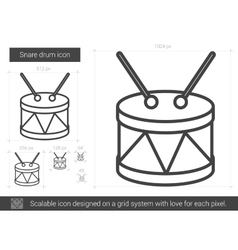 Snare drum line icon vector
