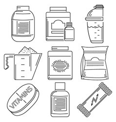 Sports nutrition flat line icons collection vector image