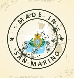 Stamp with map flag of San Marino vector image