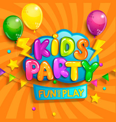 super banner for kids party in cartoon style vector image