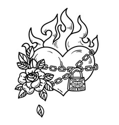 Tattoo burning heart in fetters of love with rose vector