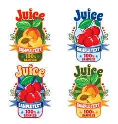 templates labels of juice from peach and cherries vector image