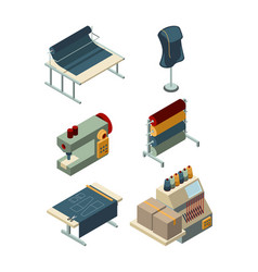 Textile isometric industrial sewing factory vector