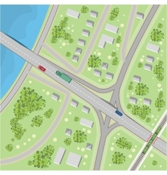 The map with driving directions Top view vector image
