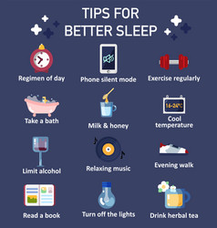 Tips for better sleep flat icon set vector