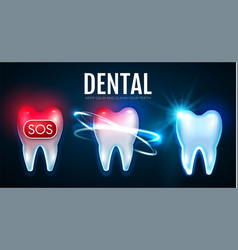 tooth treatment process with motion lights vector image