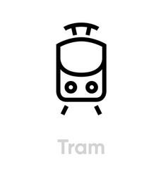 tram icon editable line streetcar public vector image