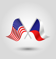 Two crossed american and russian flags vector