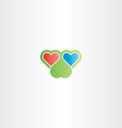 Two hearts logo love sign vector