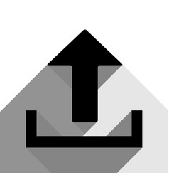 upload sign black icon with vector image