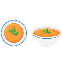 Vegetable soup in bowls vector