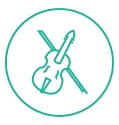 Violin with bow line icon vector
