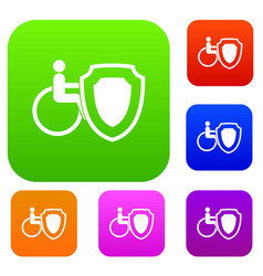 wheelchair and safety shield set collection vector image