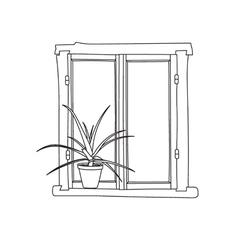 Window with potflower vector
