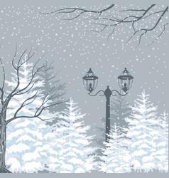 winter background snowfall fir trees vector image