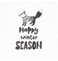 Winter postcard with quote and phrase funny fox vector