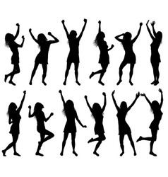 With happy dancing women silhouettes vector