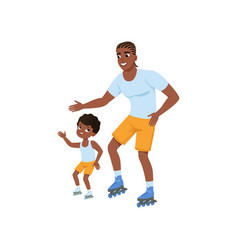Young afro-american father with son rollerskating vector