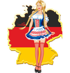 young and beautiful bavarian girl isolated over vector image