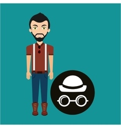 young hipster man hat and glasses retro vector image