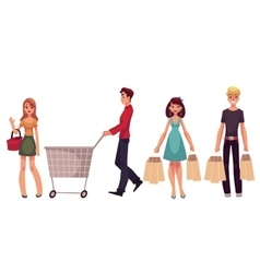 Young men and women with shopping bags cart vector image
