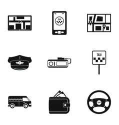 Call taxi icons set simple style vector