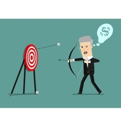 Cartoon businessman with bow and many targets vector image