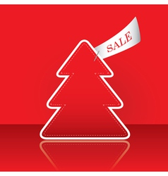 christmas tree with sale tag vector image vector image
