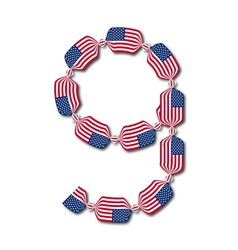 Number 9 made of USA flags in form of candies vector image
