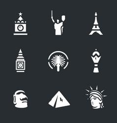 set of landmark icons vector image