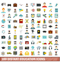 100 distant education icons set flat style vector