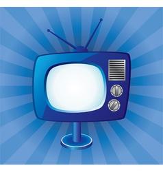 blue retro tv set vector image vector image