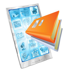 book app phone concept vector image vector image
