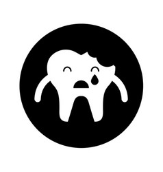 broken tooth crying character icon vector image vector image