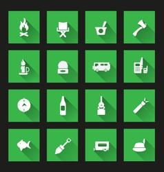 Camping icons ong Shadow vector image