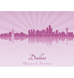 Dallas skyline in purple radiant orchid vector image vector image