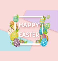 happy easter template with white frame and eggs vector image vector image