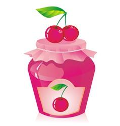 Jar of cherry jam vector image vector image