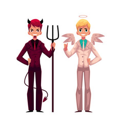 male angel and devil in business suits decision vector image