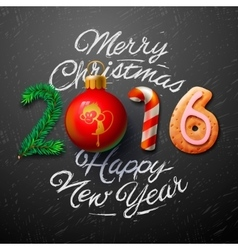 Merry Christmas 2016 greeting card vector image